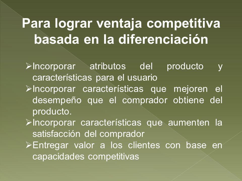 Para lograr ventaja competitiva basada en la diferenciación