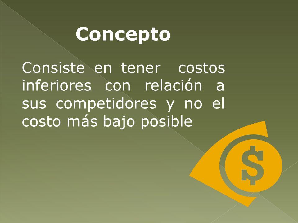 Concepto Consiste en tener costos inferiores con relación a sus competidores y no el costo más bajo posible.