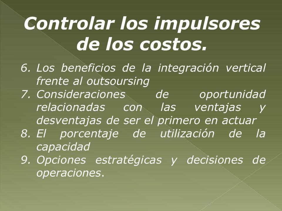 Controlar los impulsores de los costos.
