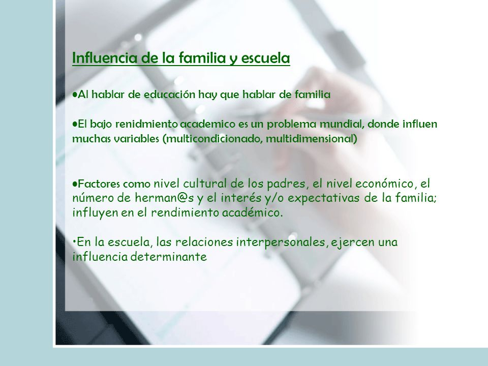 Influencia de la familia y escuela
