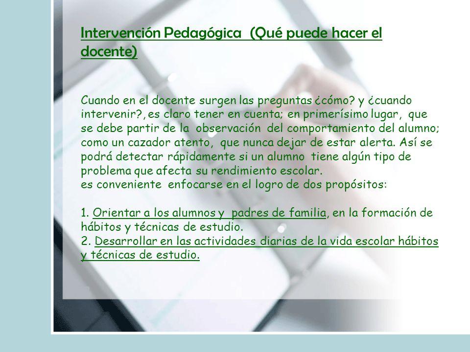 Intervención Pedagógica (Qué puede hacer el docente)