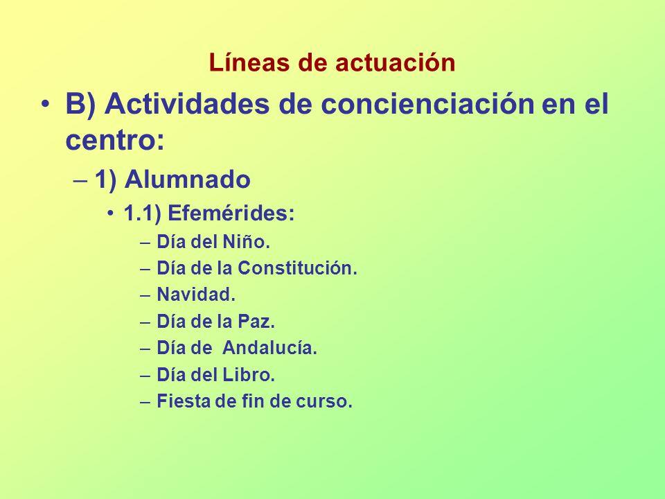 B) Actividades de concienciación en el centro: