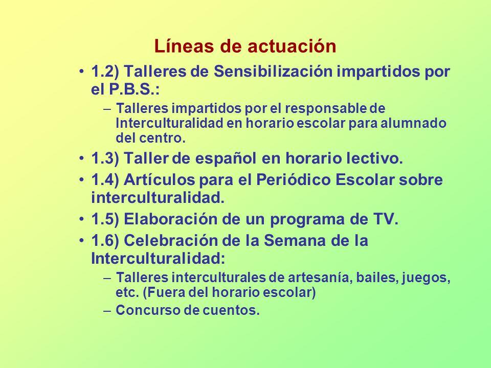 Líneas de actuación 1.2) Talleres de Sensibilización impartidos por el P.B.S.: