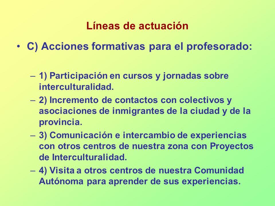 C) Acciones formativas para el profesorado: