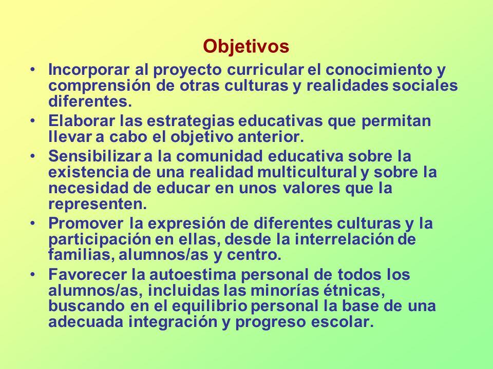 ObjetivosIncorporar al proyecto curricular el conocimiento y comprensión de otras culturas y realidades sociales diferentes.