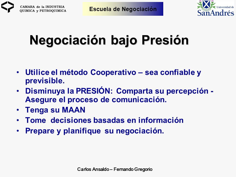 Negociación bajo Presión