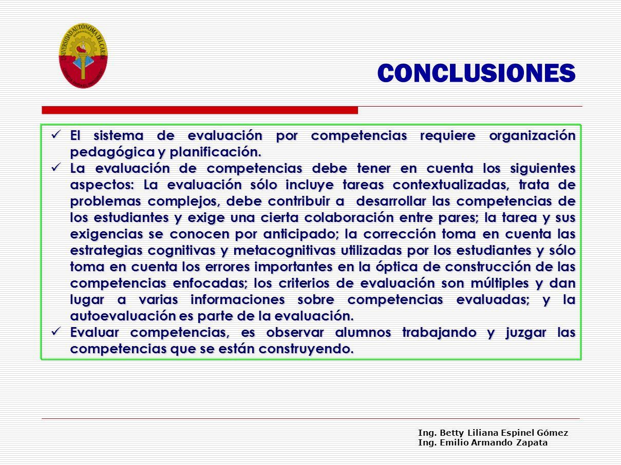 CONCLUSIONES El sistema de evaluación por competencias requiere organización pedagógica y planificación.