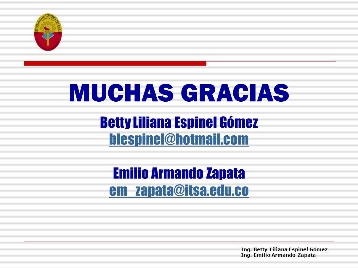 MUCHAS GRACIAS Betty Liliana Espinel Gómez blespinel@hotmail.com Emilio Armando Zapata em_zapata@itsa.edu.co.