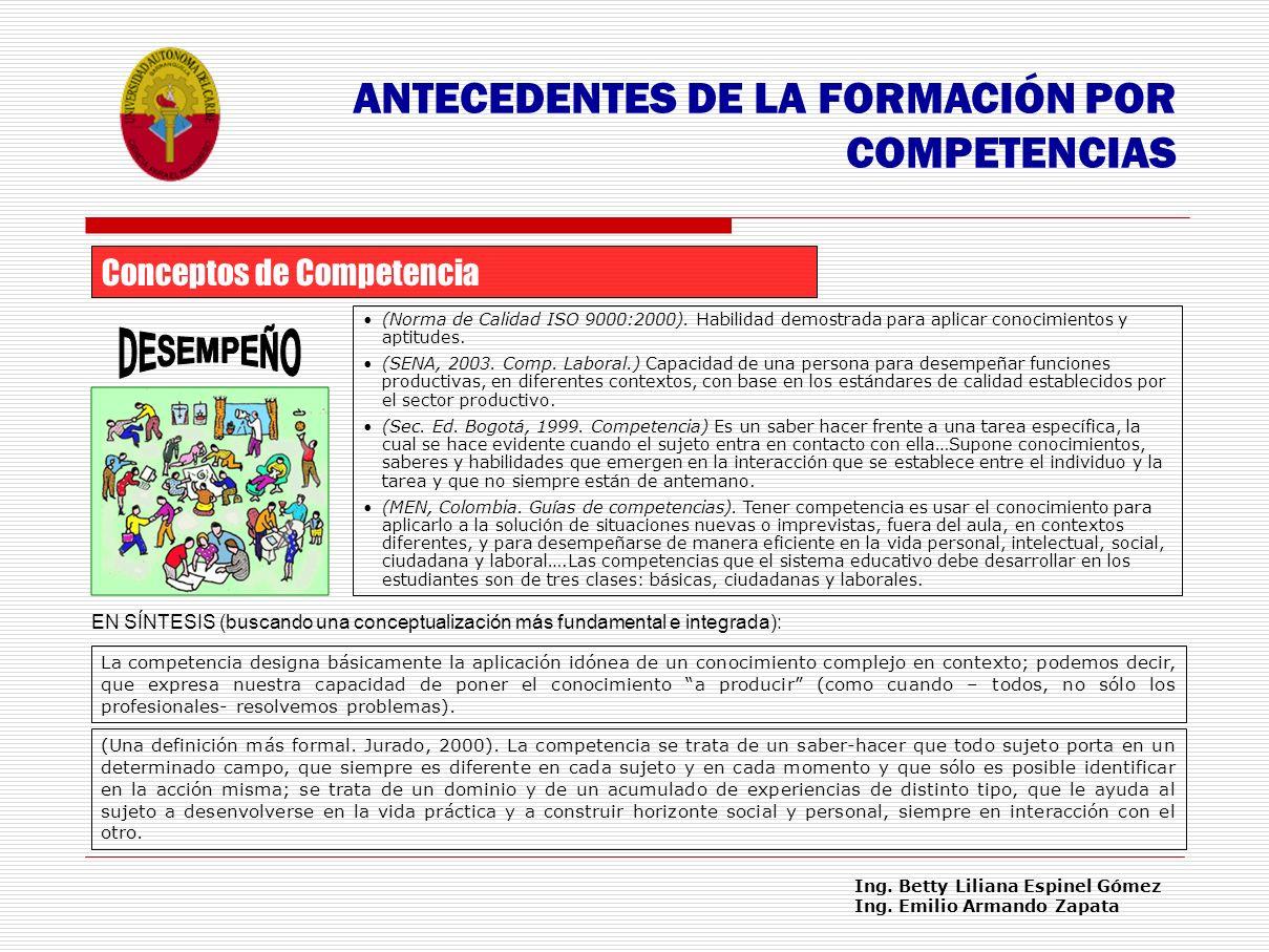 DESEMPEÑO ANTECEDENTES DE LA FORMACIÓN POR COMPETENCIAS