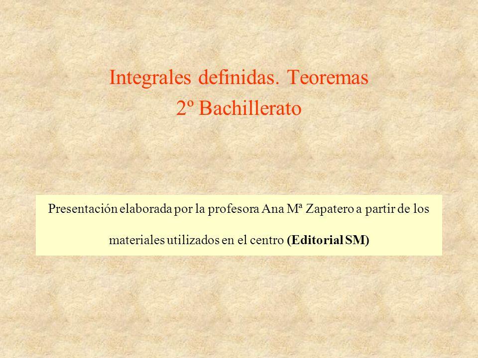 Integrales definidas. Teoremas 2º Bachillerato