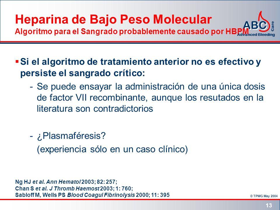 Heparina de Bajo Peso Molecular Algoritmo para el Sangrado probablemente causado por HBPM