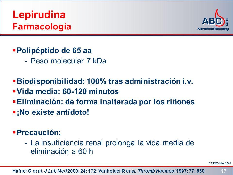 Lepirudina Farmacología