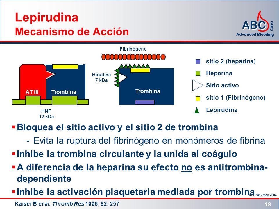 Lepirudina Mecanismo de Acción