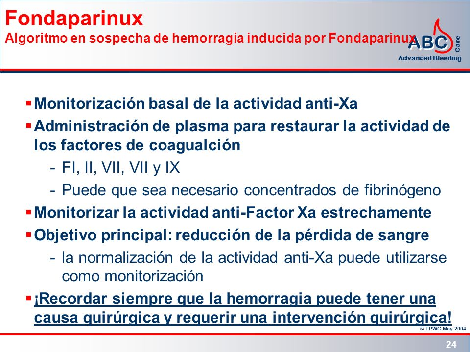 Fondaparinux Algoritmo en sospecha de hemorragia inducida por Fondaparinux
