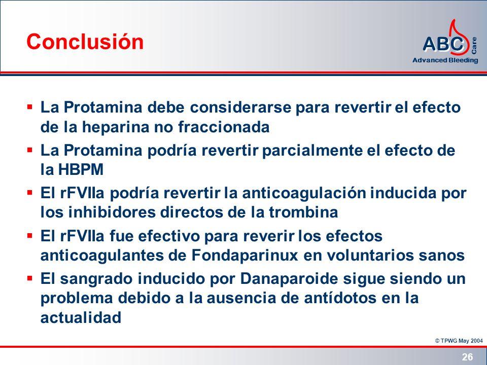 Conclusión La Protamina debe considerarse para revertir el efecto de la heparina no fraccionada.