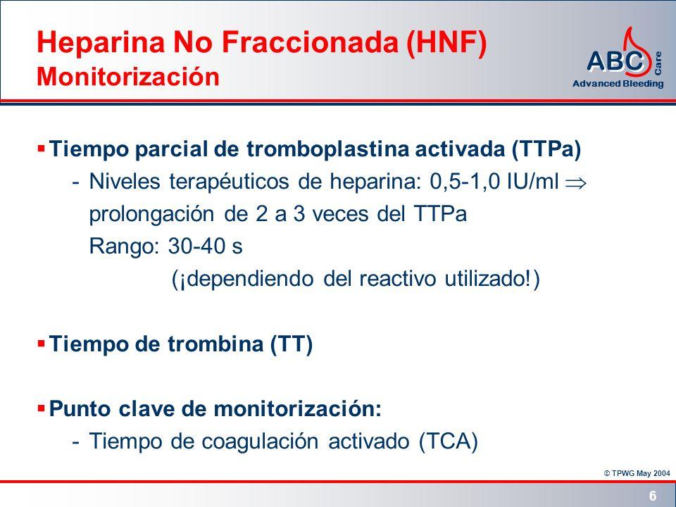 Heparina No Fraccionada (HNF) Monitorización