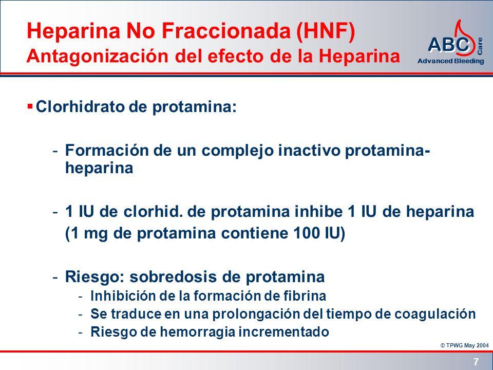 Heparina No Fraccionada (HNF) Antagonización del efecto de la Heparina