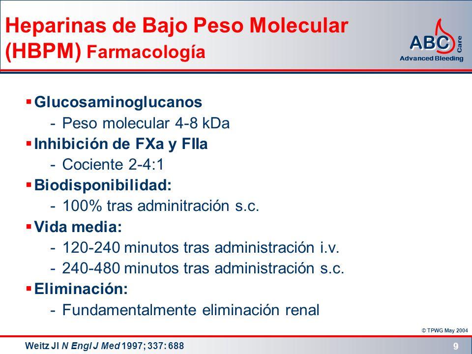 Heparinas de Bajo Peso Molecular (HBPM) Farmacología