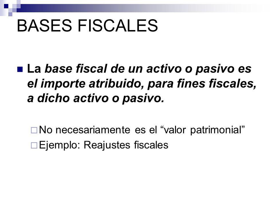 BASES FISCALES La base fiscal de un activo o pasivo es el importe atribuido, para fines fiscales, a dicho activo o pasivo.