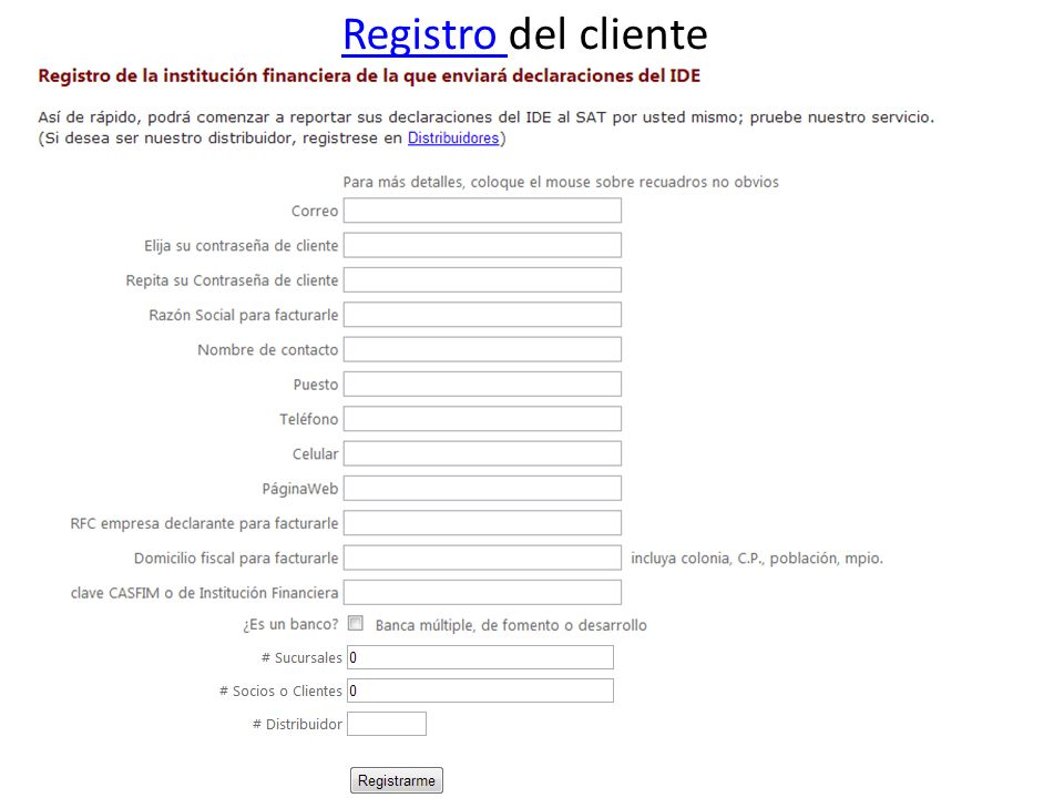 Registro del cliente