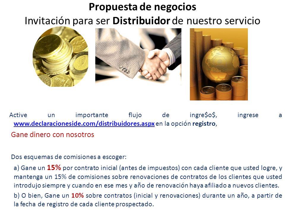 Propuesta de negocios Invitación para ser Distribuidor de nuestro servicio