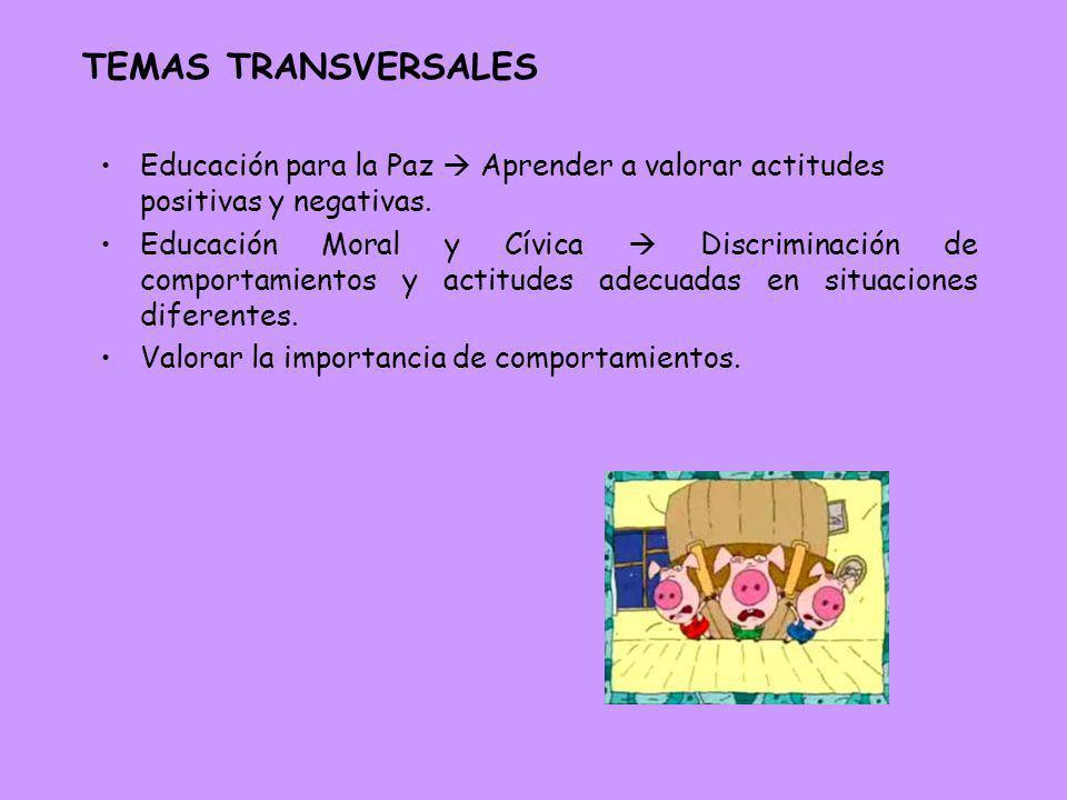 TEMAS TRANSVERSALESEducación para la Paz  Aprender a valorar actitudes positivas y negativas.