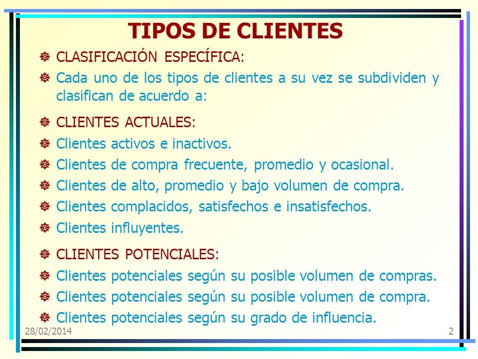 TIPOS DE CLIENTES CLASIFICACIÓN ESPECÍFICA: