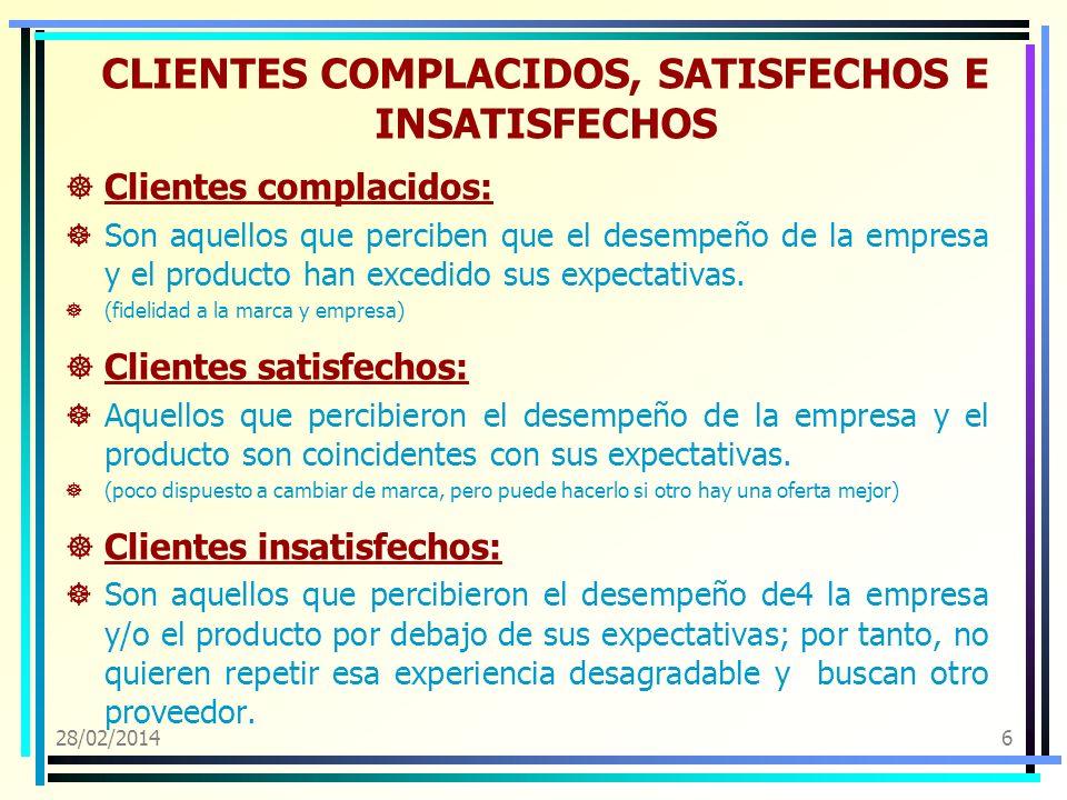 CLIENTES COMPLACIDOS, SATISFECHOS E INSATISFECHOS