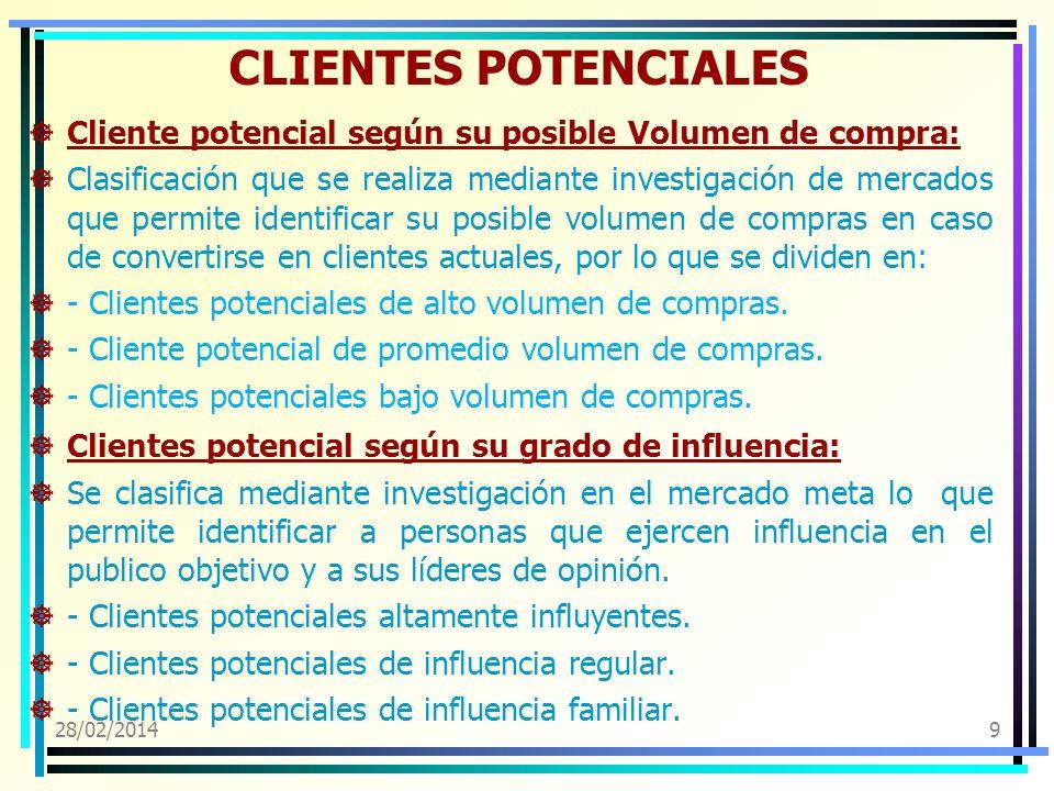 CLIENTES POTENCIALES Cliente potencial según su posible Volumen de compra: