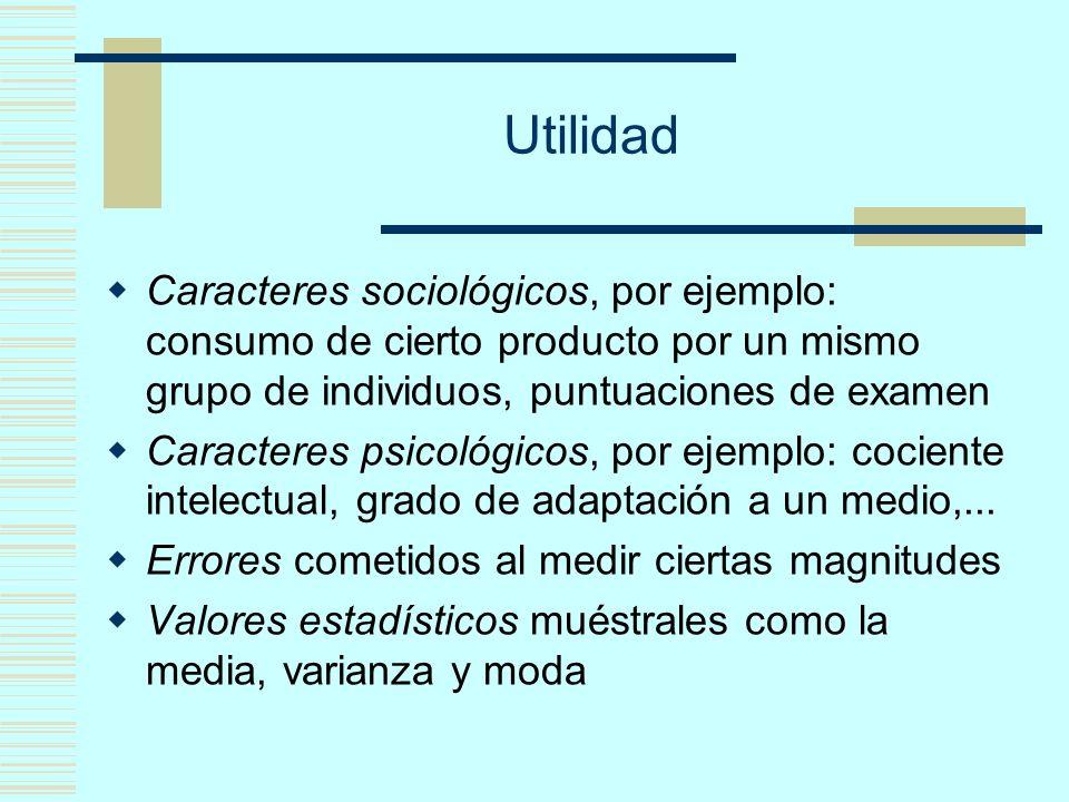 Utilidad Caracteres sociológicos, por ejemplo: consumo de cierto producto por un mismo grupo de individuos, puntuaciones de examen.