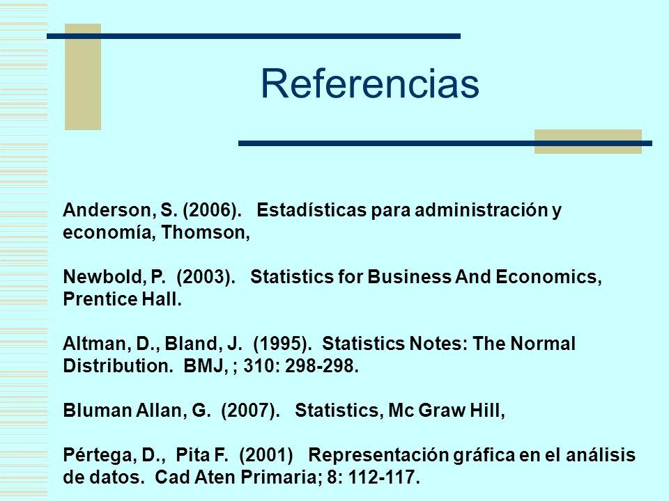Referencias Anderson, S. (2006). Estadísticas para administración y economía, Thomson,