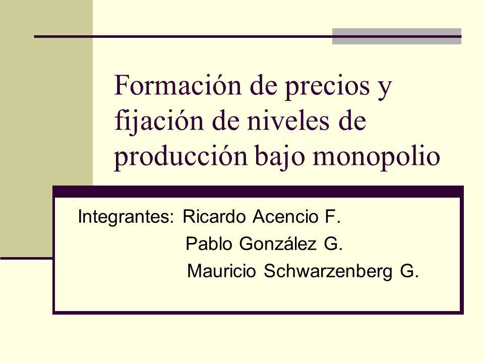 Formación de precios y fijación de niveles de producción bajo monopolio