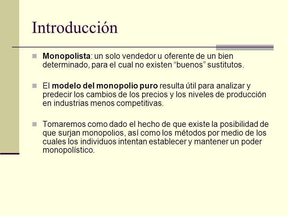 Introducción Monopolista: un solo vendedor u oferente de un bien determinado, para el cual no existen buenos sustitutos.