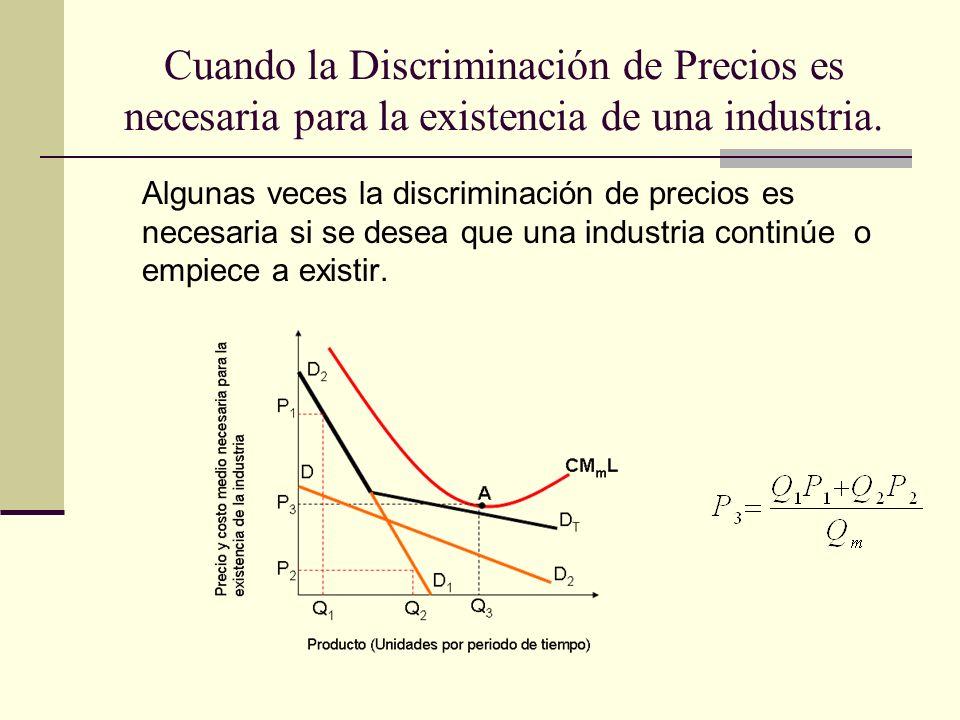 Cuando la Discriminación de Precios es necesaria para la existencia de una industria.