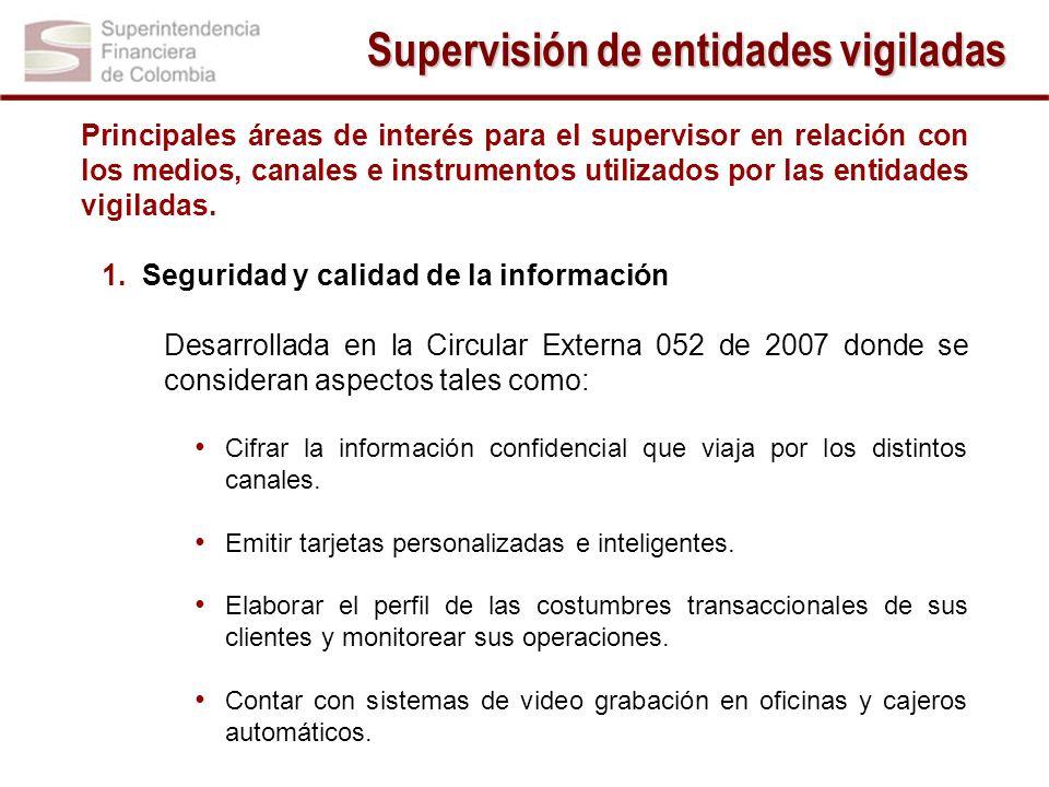 Supervisión de entidades vigiladas