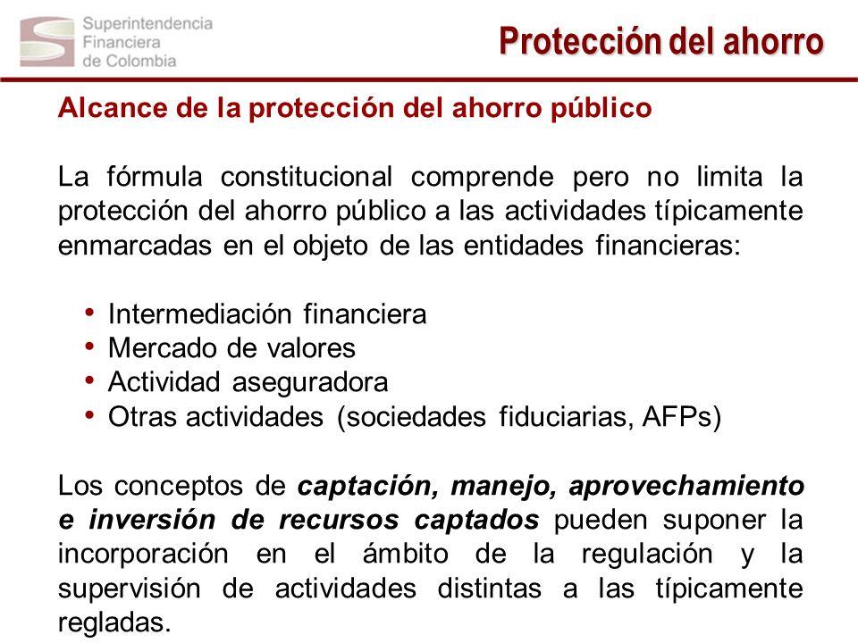 Protección del ahorro Alcance de la protección del ahorro público