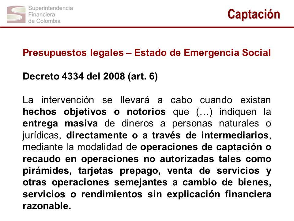 Captación Presupuestos legales – Estado de Emergencia Social