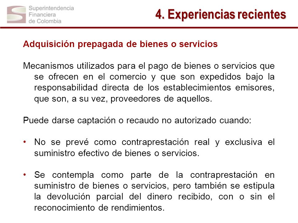 4. Experiencias recientes