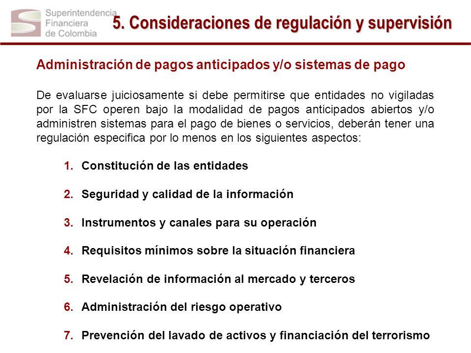 5. Consideraciones de regulación y supervisión