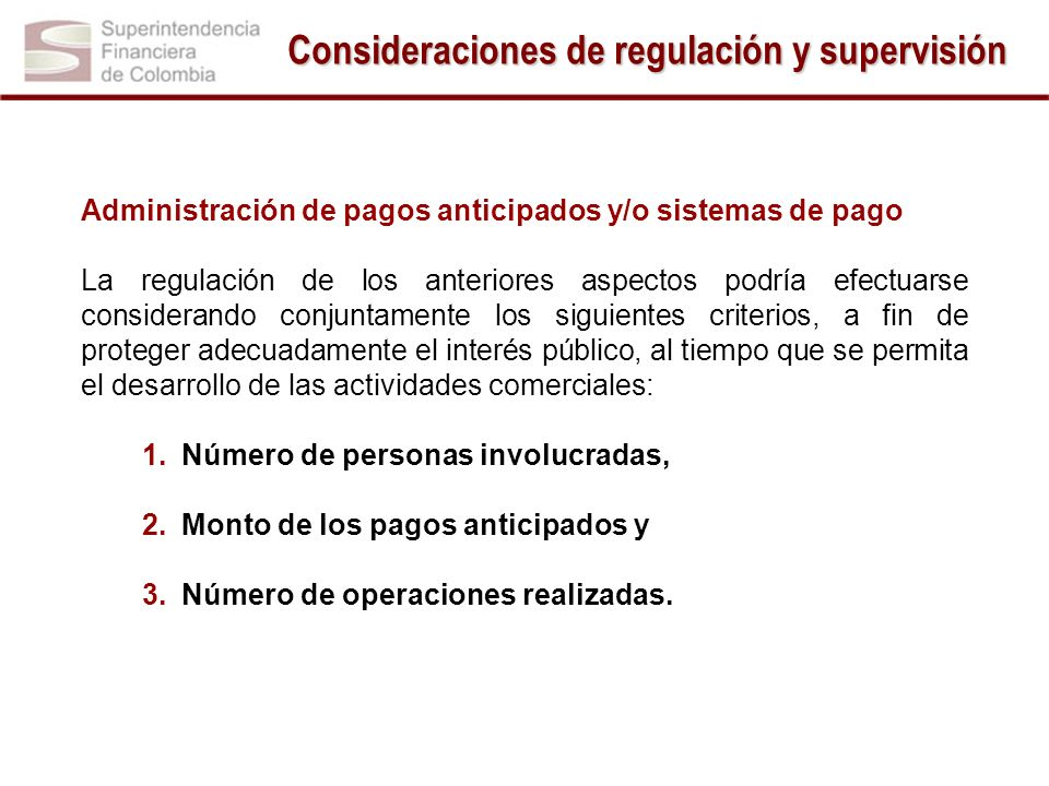 Consideraciones de regulación y supervisión