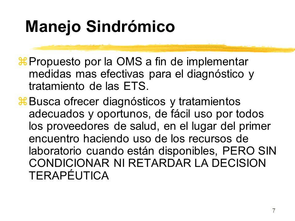 Manejo Sindrómico Propuesto por la OMS a fin de implementar medidas mas efectivas para el diagnóstico y tratamiento de las ETS.