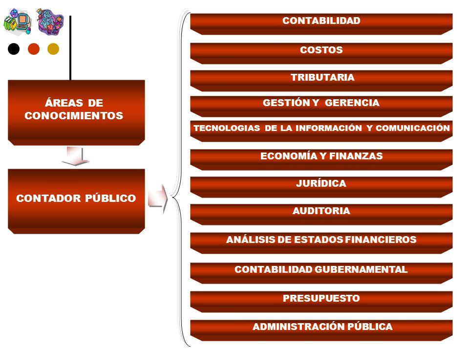 ÁREAS DE CONOCIMIENTOS CONTADOR PÚBLICO CONTABILIDAD COSTOS TRIBUTARIA