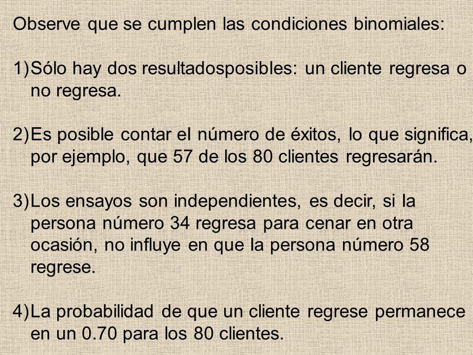 Observe que se cumplen las condiciones binomiales: