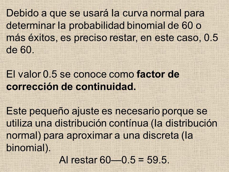 Debido a que se usará Ia curva normal para determinar Ia probabilidad binomial de 60 o más éxitos, es preciso restar, en este caso, 0.5 de 60.