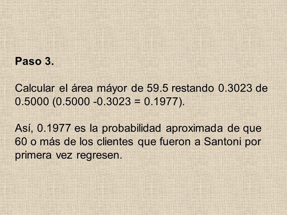 Paso 3. Calcular eI área máyor de 59.5 restando 0.3023 de 0.5000 (0.5000 -0.3023 = 0.1977).