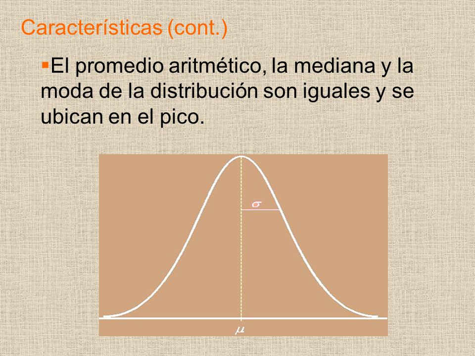 El promedio aritmético, la mediana y la moda de la distribución son iguales y se ubican en el pico.