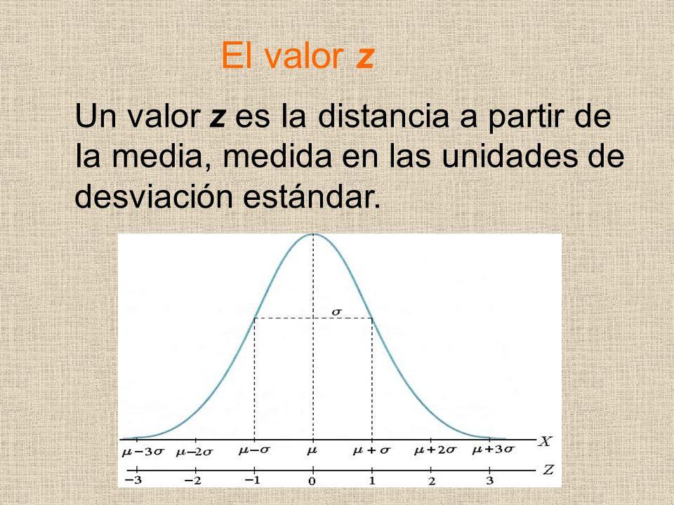 El valor z Un valor z es Ia distancia a partir de