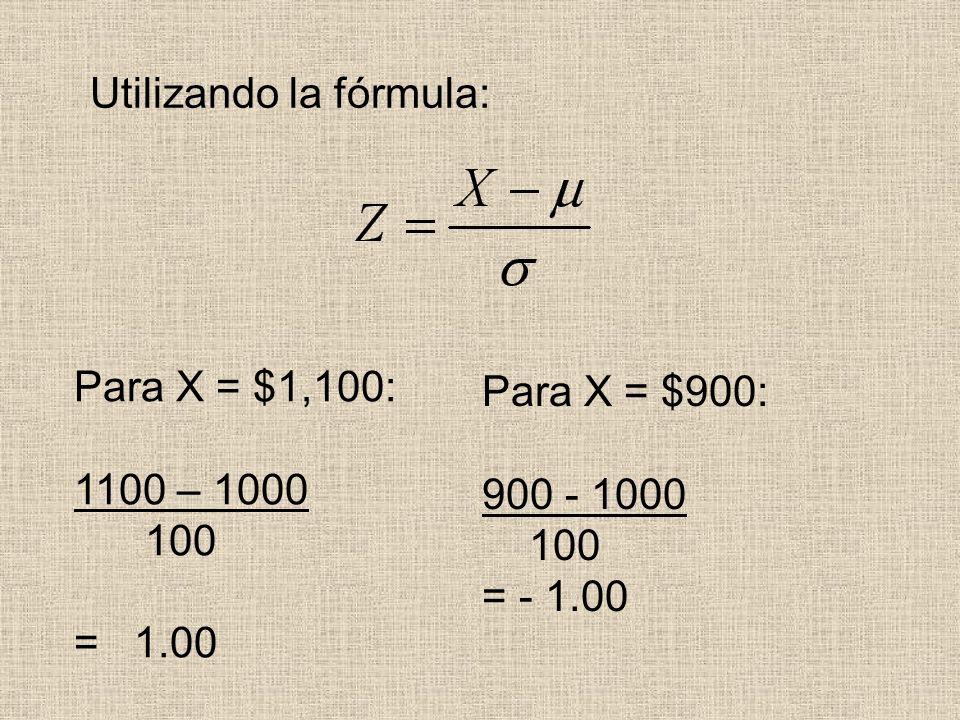 Utilizando la fórmula: