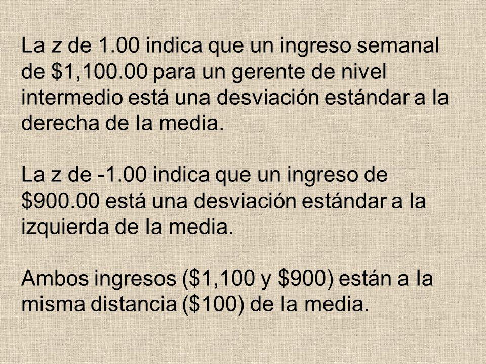 La z de 1. 00 indica que un ingreso semanal de $1,100