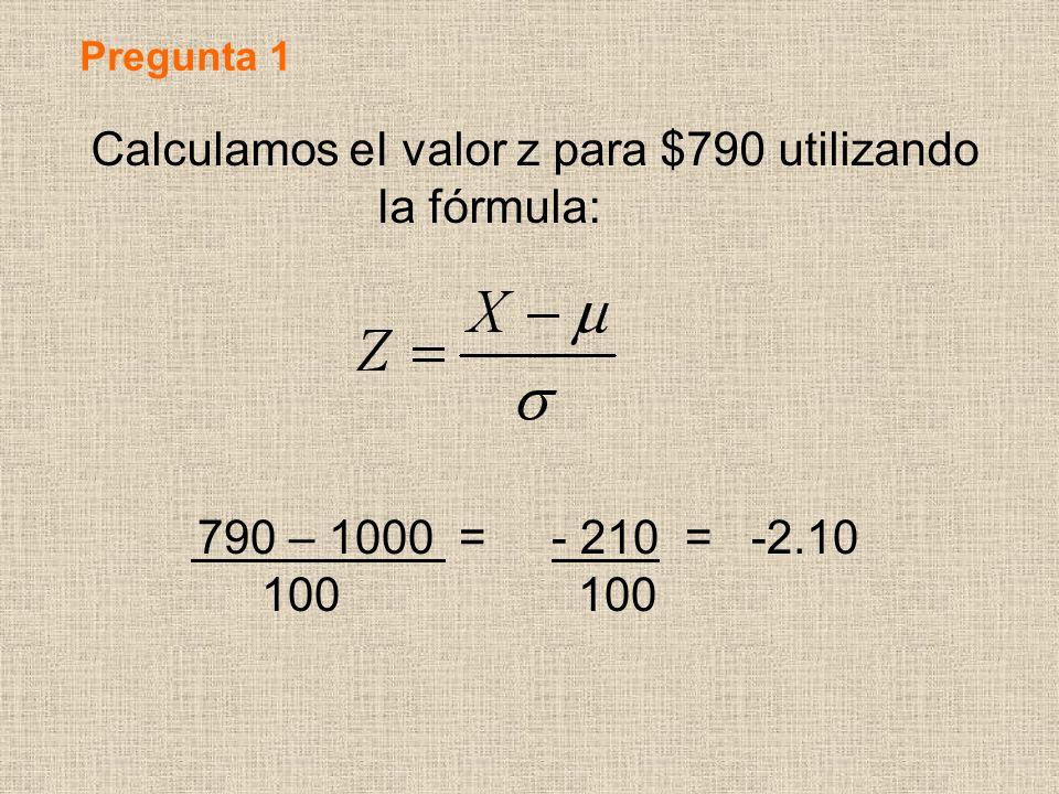 Calculamos eI valor z para $790 utilizando Ia fórmula: